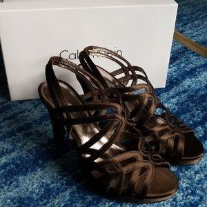 Calvin Klein Satin Brown Heel Pump Platform Shoes